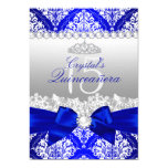 Royal Blue Damask & Pearl Bow Quinceanera Invite