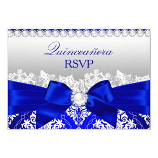 Royal Blue Damask & Pearl Bow Quinceanera RSVP 9 Cm X 13 Cm Invitation Card