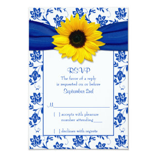 Royal Blue Damask Sunflower Wedding RSVP Card