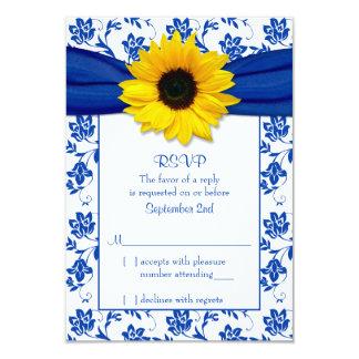 Royal Blue Damask Sunflower Wedding RSVP Card 9 Cm X 13 Cm Invitation Card