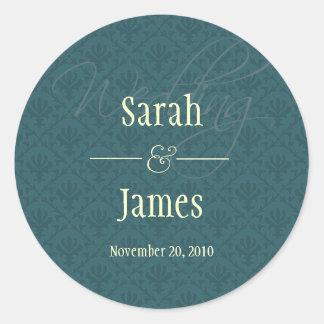 Royal Blue Damask Wedding Sticker