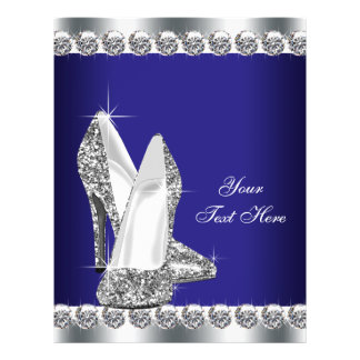 Royal Blue Diamond Glitter High Heel Shoe Flyer