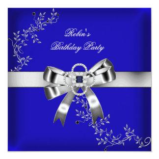 Royal Blue Diamond Jewel Silver Bow Card
