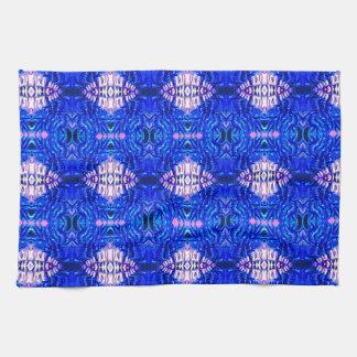 royal blue diamond sand hippie tiedye rug pattern tea towel