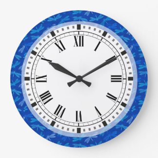 Royal Blue Dragonfly Decorative Pattern Wall Clocks