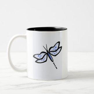 Royal Blue Dragonfly Two-Tone Coffee Mug
