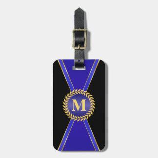 Royal Blue Elegance Monogram Luggage Tag