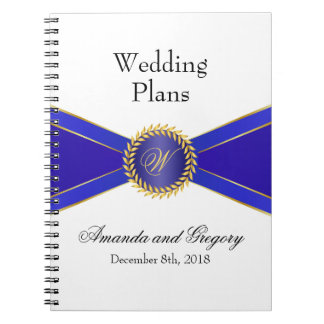 Royal Blue Elegance Monogram Spiral Note Books