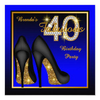 Royal Blue Fabulous 40th Birthday Party 13 Cm X 13 Cm Square Invitation Card