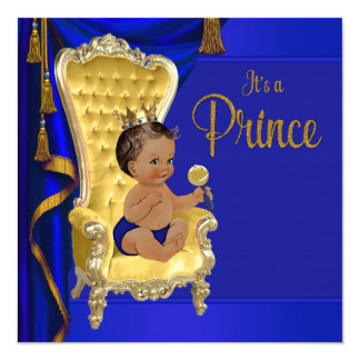 Royal Blue Fancy Ethnic Prince Baby Shower Card