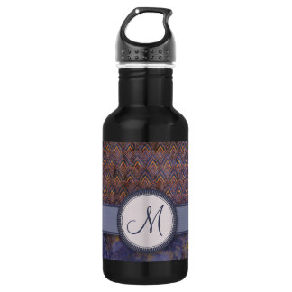 Royal Blue Feather Pattern with Monogram 532 Ml Water Bottle