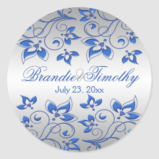 """Royal Blue Floral and Silver 1.5"""" Round Sticker"""