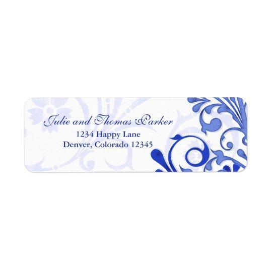 Royal Blue Floral Wedding Return Address Label