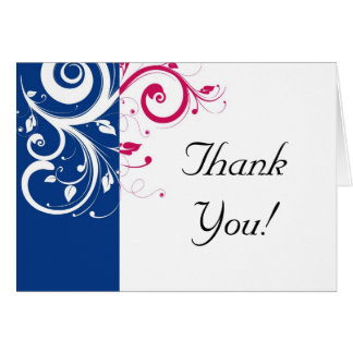 Royal Blue/Fuchsia Swirl Thank You Note Card
