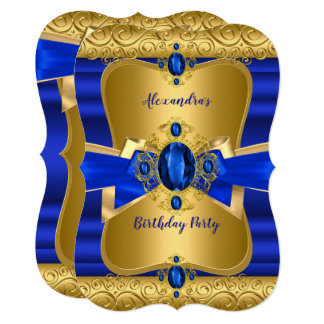 Royal Blue Gem Gold Bow Birthday Party Card