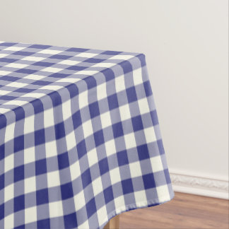 Royal Blue Gingham Cotton Tablecloth