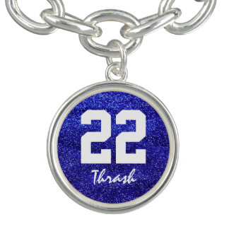 Royal Blue Glitter Custom Jersey Number