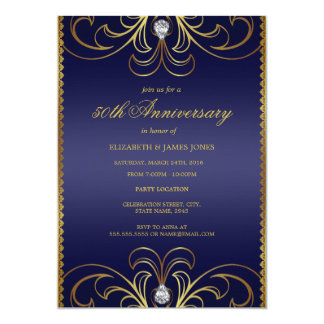 Royal Blue & Gold 50th Wedding Anniversary Invite