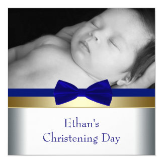 Royal Blue Gold Baby Boy Photo Christening Card