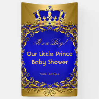 Royal Blue Gold Crown Baby Shower Boy Banner