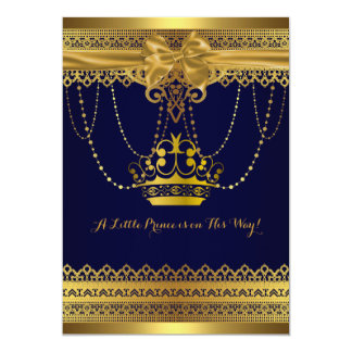Royal Blue & Gold Crown Baby Shower Invitation