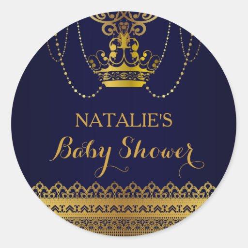 Royal Blue & Gold Crown Baby Shower Sticker