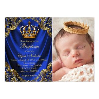 Royal Blue Gold Crown Little Prince Baptism 11 Cm X 16 Cm Invitation Card