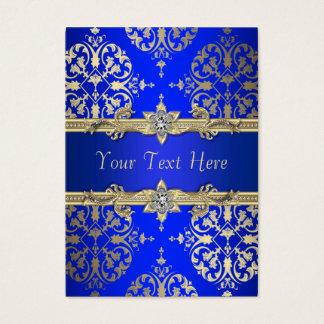 Royal Blue Gold Damask Business Cards