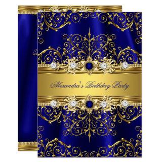 Royal Blue & Gold Damask Elegant Birthday Party Card