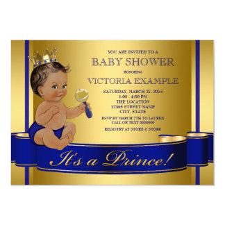 Royal Blue Gold Ethnic Prince Baby Shower 13 Cm X 18 Cm Invitation Card