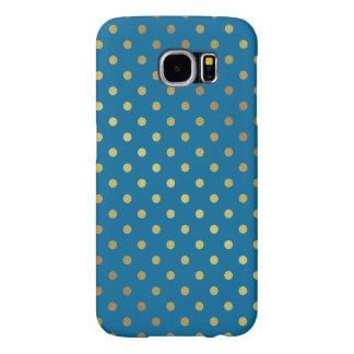 Royal Blue Gold Glitter Dots Adorable Pattern