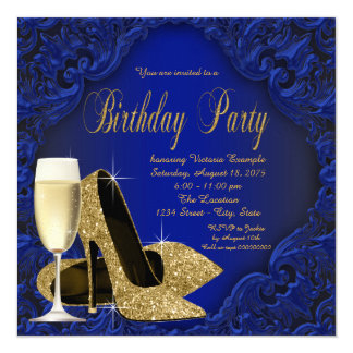 Royal Blue Gold High Heel Champagne Birthday Party Card