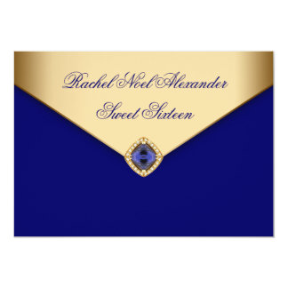 Royal Blue Gold Jewel Sweet Sixteen Card