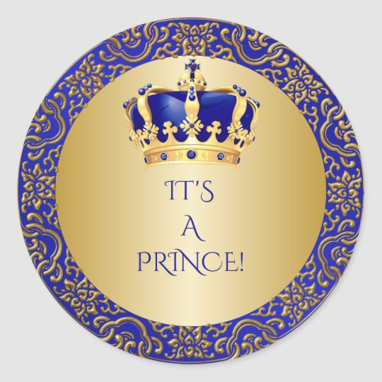 Royal Blue & Gold Little Prince Crown Classic Round ...