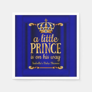 Royal Blue Gold Prince On His Way Baby Shower Disposable Serviettes