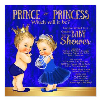 Royal Blue Gold Prince or Princess Gender Reveal Card
