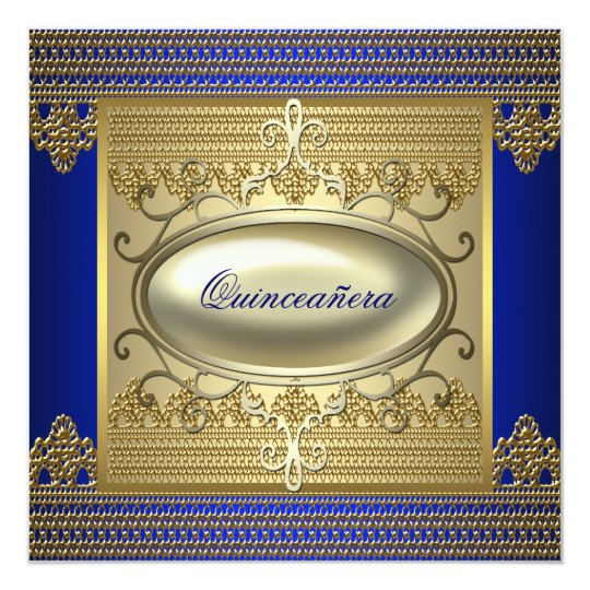 Royal Blue Gold Quinceanera Card