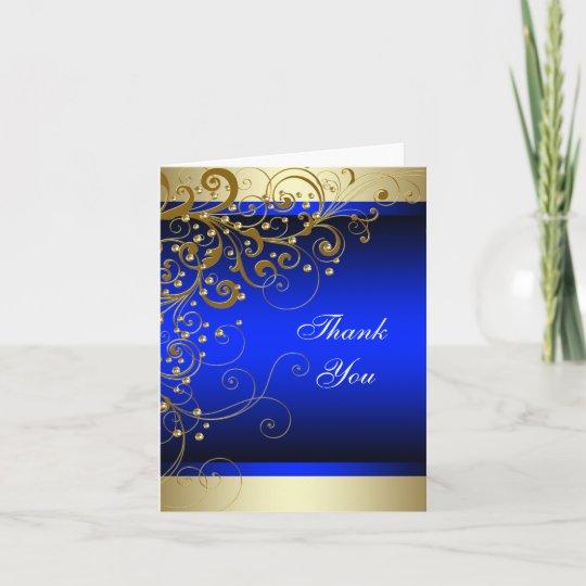 Royal Blue Gold Thank You Cards Zazzle Com Au
