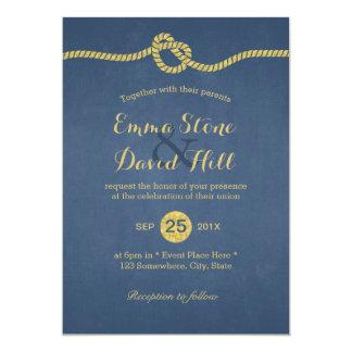 Royal Blue & Gold Tying the Knot Wedding 13 Cm X 18 Cm Invitation Card