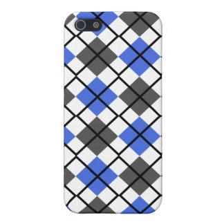 Royal Blue Grey White Black Argyle iPhone 4 Case