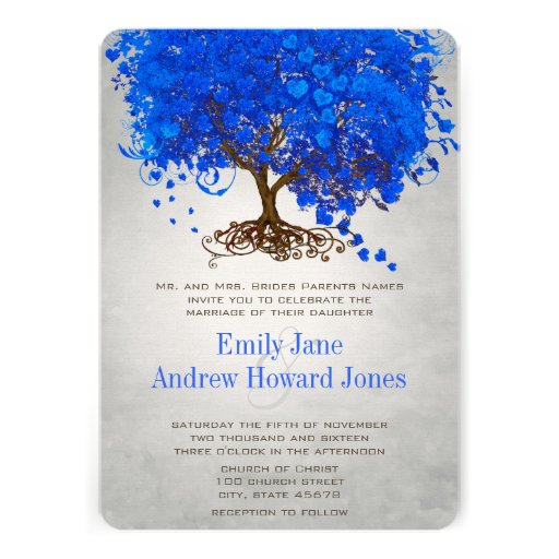Royal Blue Heart Leaf Tree Wedding Invites