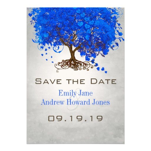 Royal Blue Heart Leaf Tree Wedding Save the Date Custom Invitation