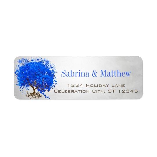 Royal Blue Heart Leafed Return Address Return Address Label