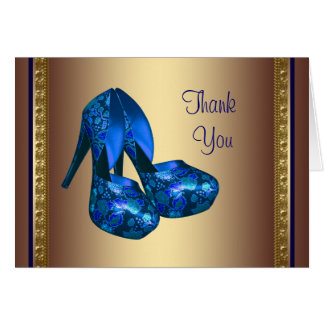 Royal Blue High Heel Shoes Blue Gold Thank You Car Card