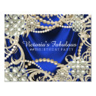 Royal Blue Ivory Pearl Birthday Party Card