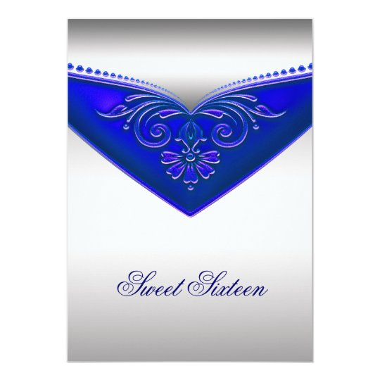 Royal Blue Ivory Sweet Sixteen Birthday Party Card