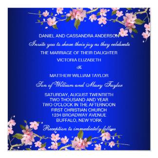 "Royal Blue Japanese Cherry Blossoms Wedding 5.25"" Square Invitation Card"