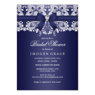 Royal Blue Lace & Diamond Bow Bridal Shower Card