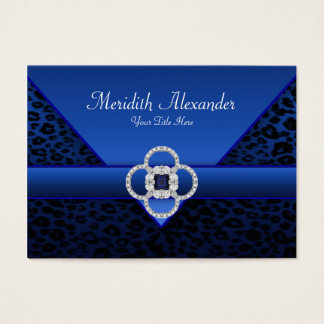 Royal Blue Leopard Business Cards