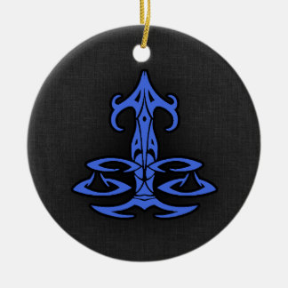 Royal Blue Libra Double-Sided Ceramic Round Christmas Ornament